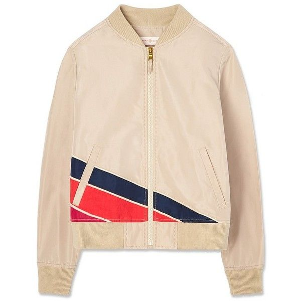 Tory Burch Eden Bomber Jacket ($495) ❤ liked on Polyvore featuring outerwear, jackets, balsa, color block jacket, straight jacket, colorblock jackets, colorblock bomber jacket and bomber style jacket