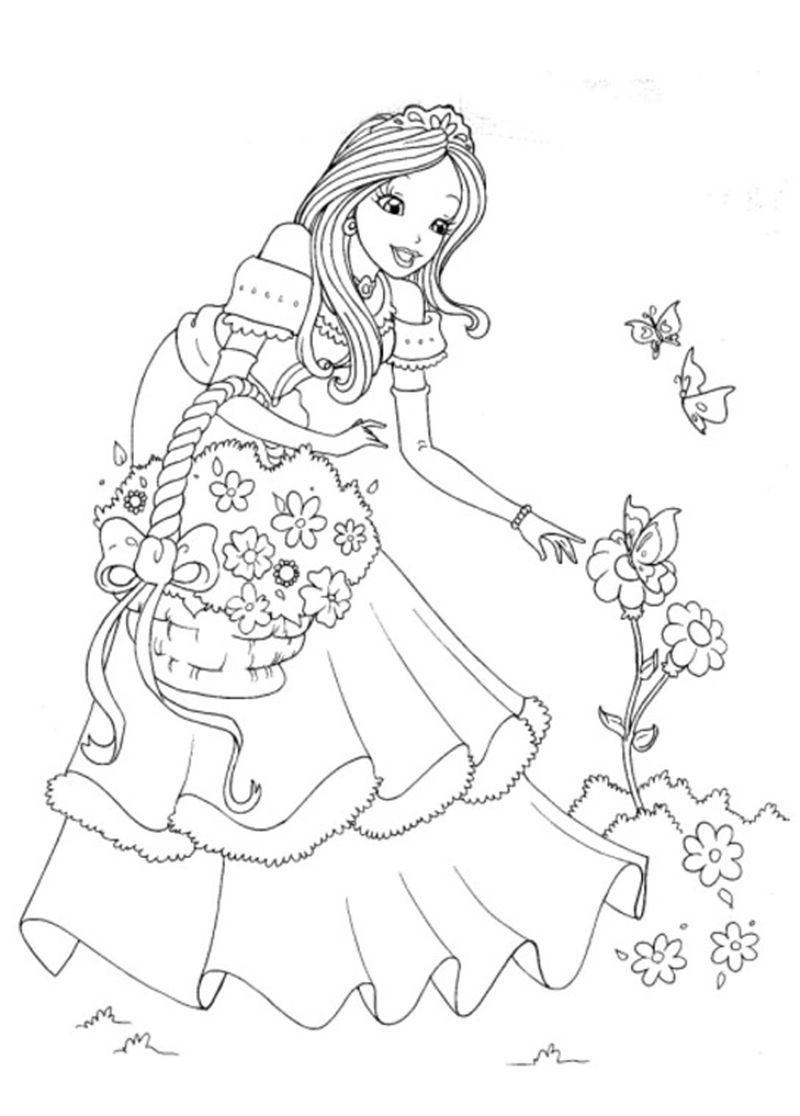 Beautiful Princess Coloring Page Kembar
