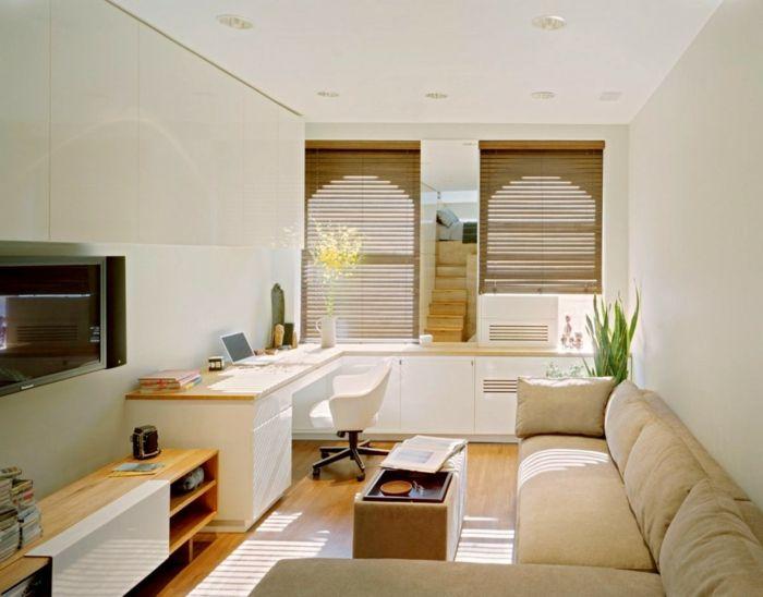 kleines wohnzimmer einrichten ecksofa schreibtisch kommode - Kleines Wohnzimmer Einrichten