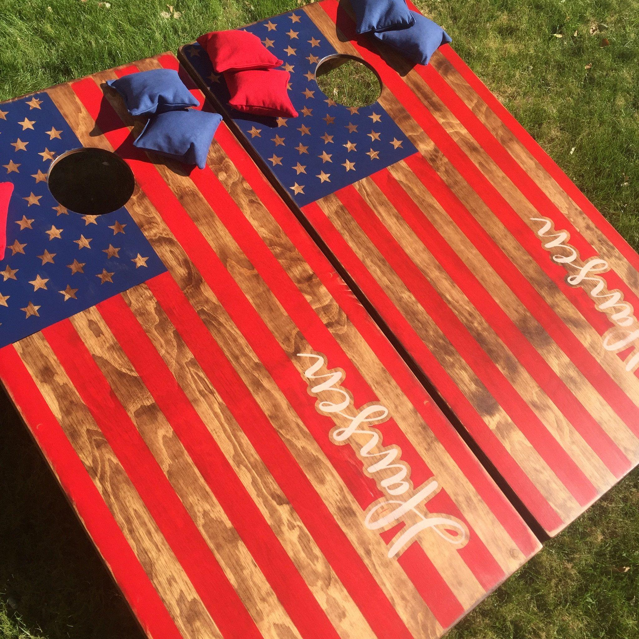 Bean Bag Toss Game American Flag Corn Hole Boards
