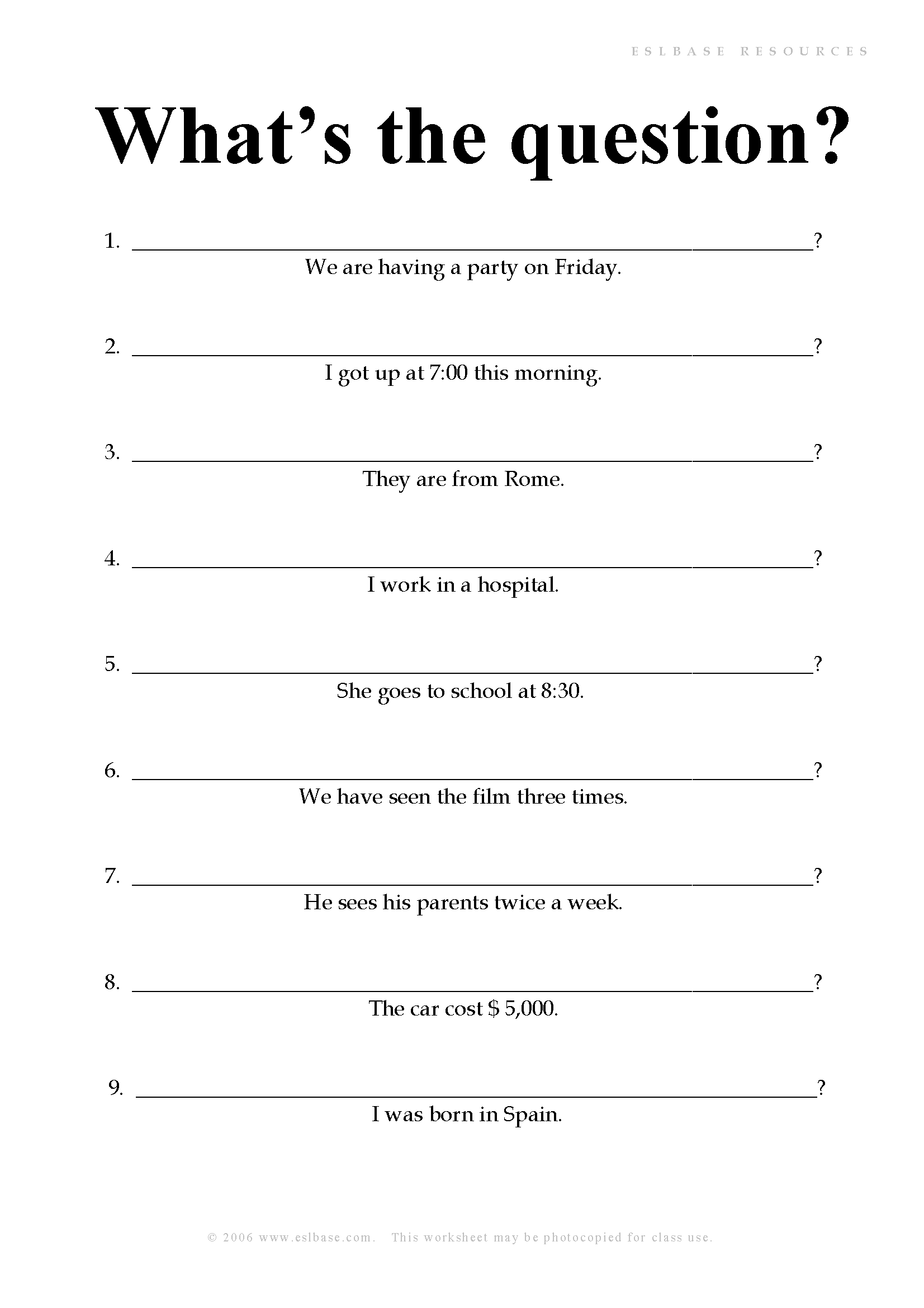 a worksheet to practise forming questions | Notebooks | Pinterest