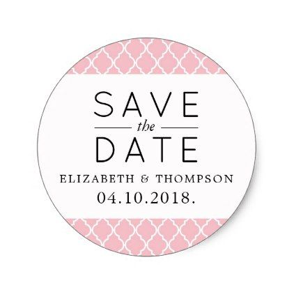 Save the date moroccan trellis pink white classic round sticker wedding stickers unique