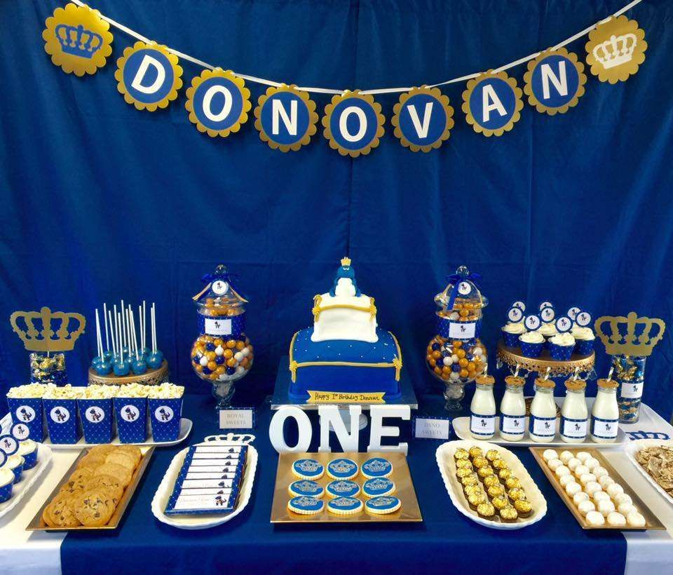 Royal blue & gold birthday party! See more party planning