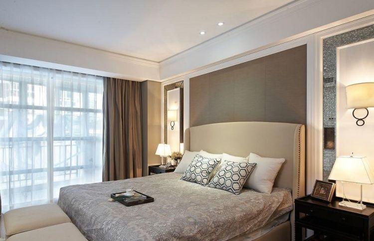 wandgestaltung-betongrau-schlafzimmer-cremefarbenes-polsterbett ...