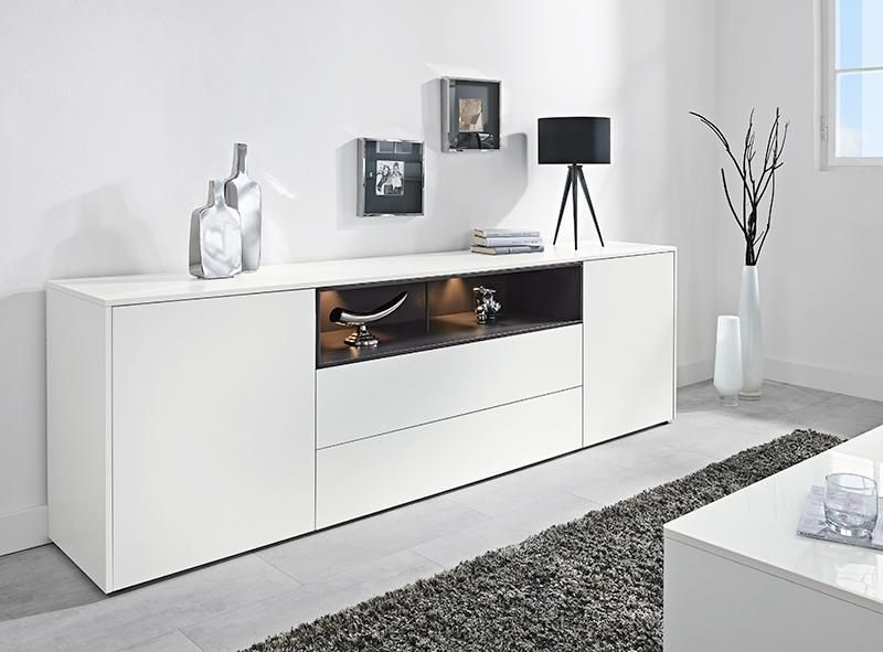 Modern Sideboard With 2 Drawers In Ultra Matt White