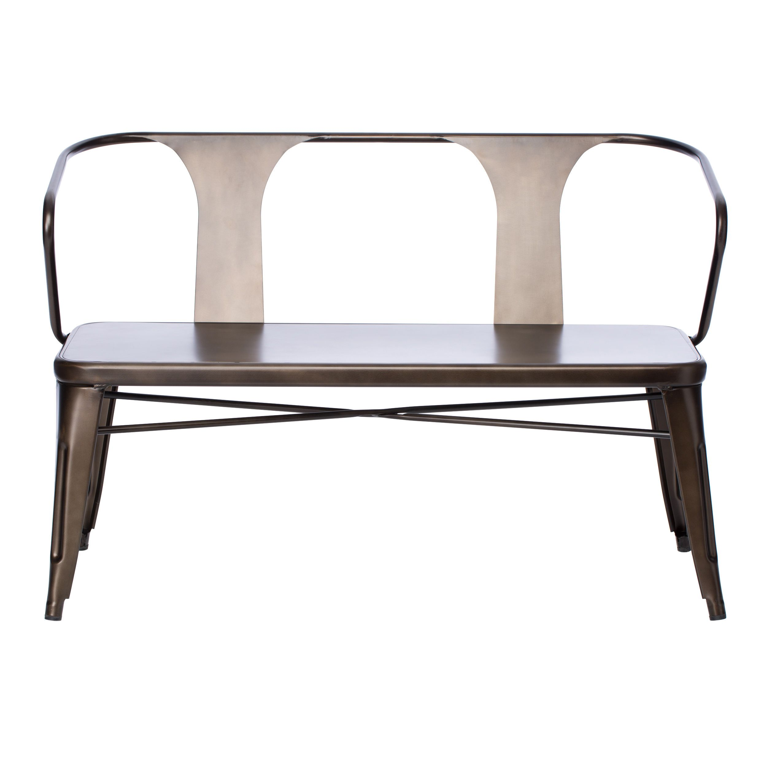 Tabouret Vintage Metal Dining Bench with Back by I Love Living ...