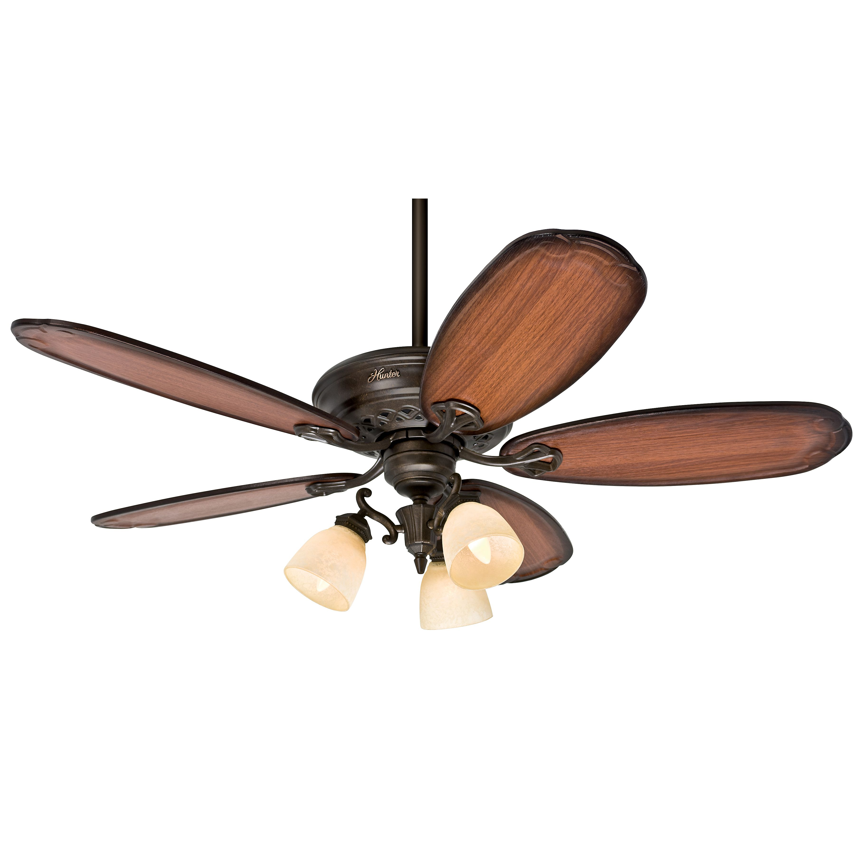 Hunter 54 Inch Tuscan Gold Finish Ceiling Fan 3 Position Mounting