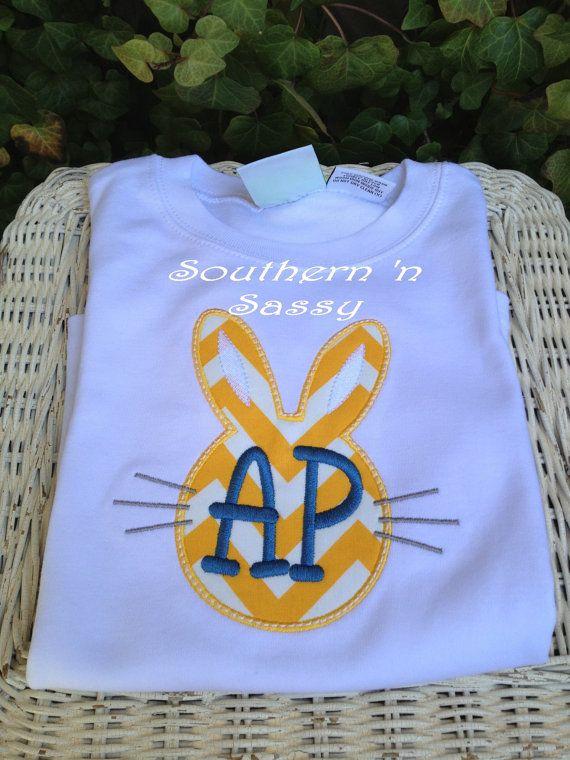 Monogram Bunny's Face TShirt by southernnsassy on Etsy, $25.00
