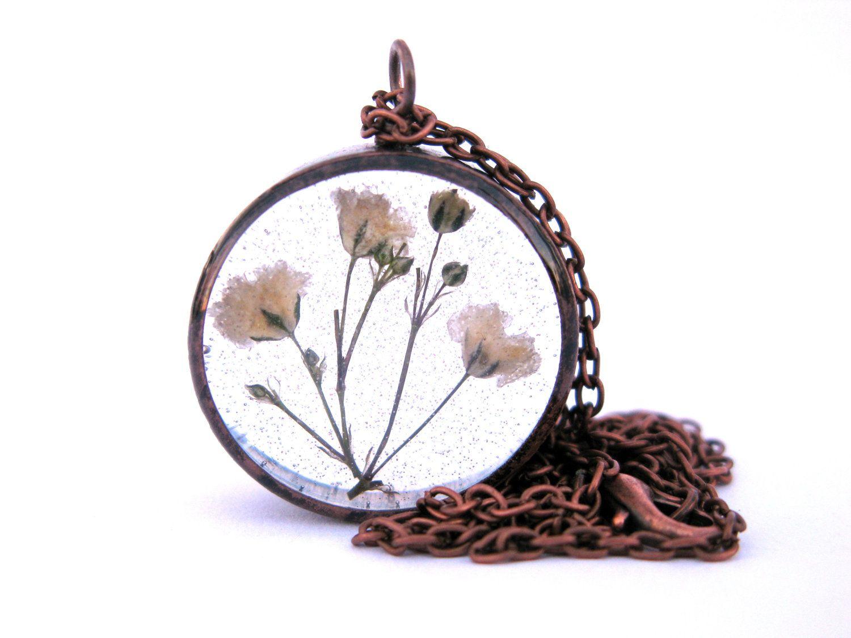 Babys breath necklace real flowers encased in resin in