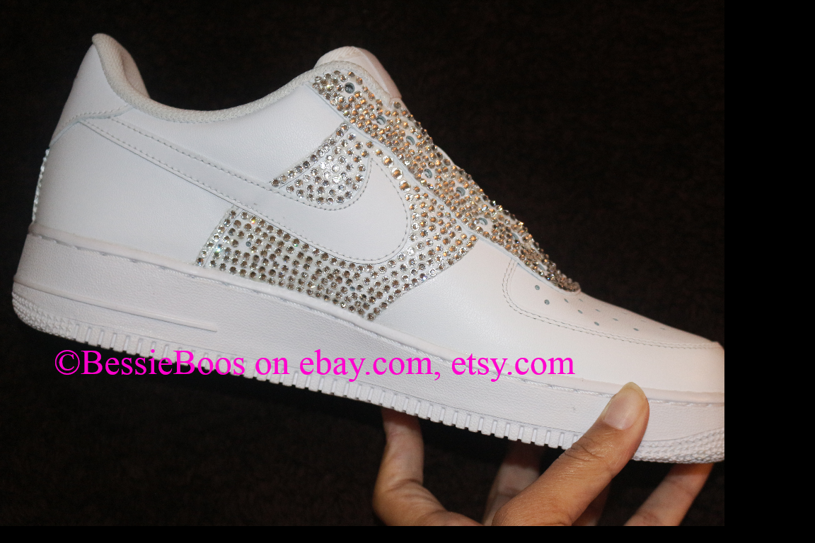 182.34 BessieBoos Nike AF1 air force one custom Swarovski bling gems  rhinestones sneakers shoes women or men e2f2ddaf616f