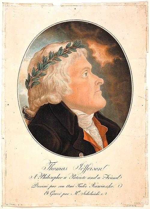 Thomas Jefferson, a gift to Tadeusz Kościuszko, colored by Michał Sokolnicki