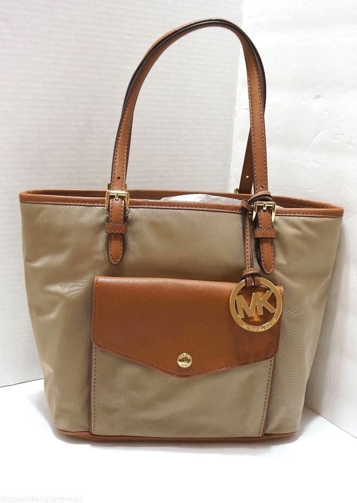 221a20ad1 MICHAEL Michael Kors Jet Set Nylon Large Pocket Multifunction Tote  Dusk Tan Gold http