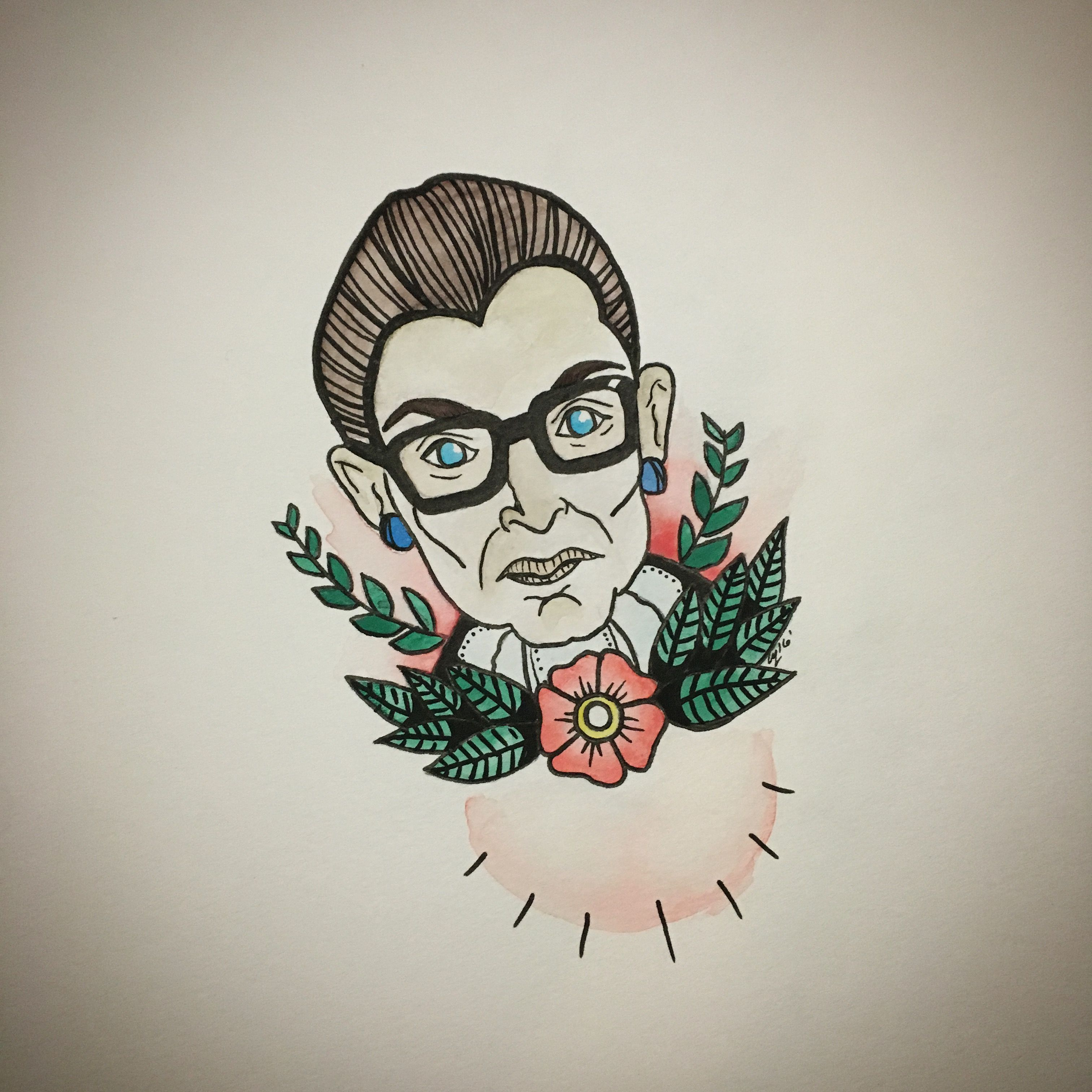 Ruth Bader Ginsburg feminist flash watercolor tattoo art
