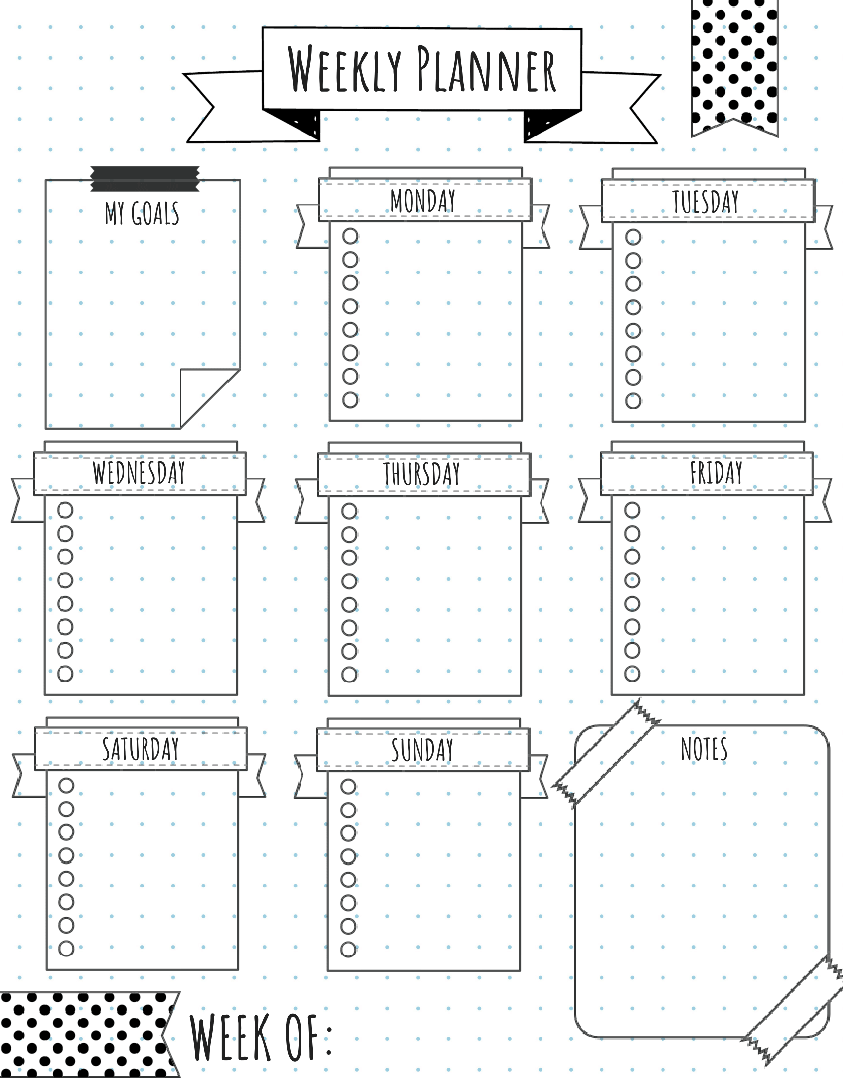 Bullet Journal Weekly One Page Layout Free Printable Bullet Journal Ideas Templates Bullet Journal Layout Templates Bullet Journal Weekly Layout