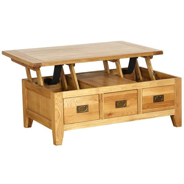 Oak Petite Coffee Table With 3 Drawers And Lift Up Top Coole