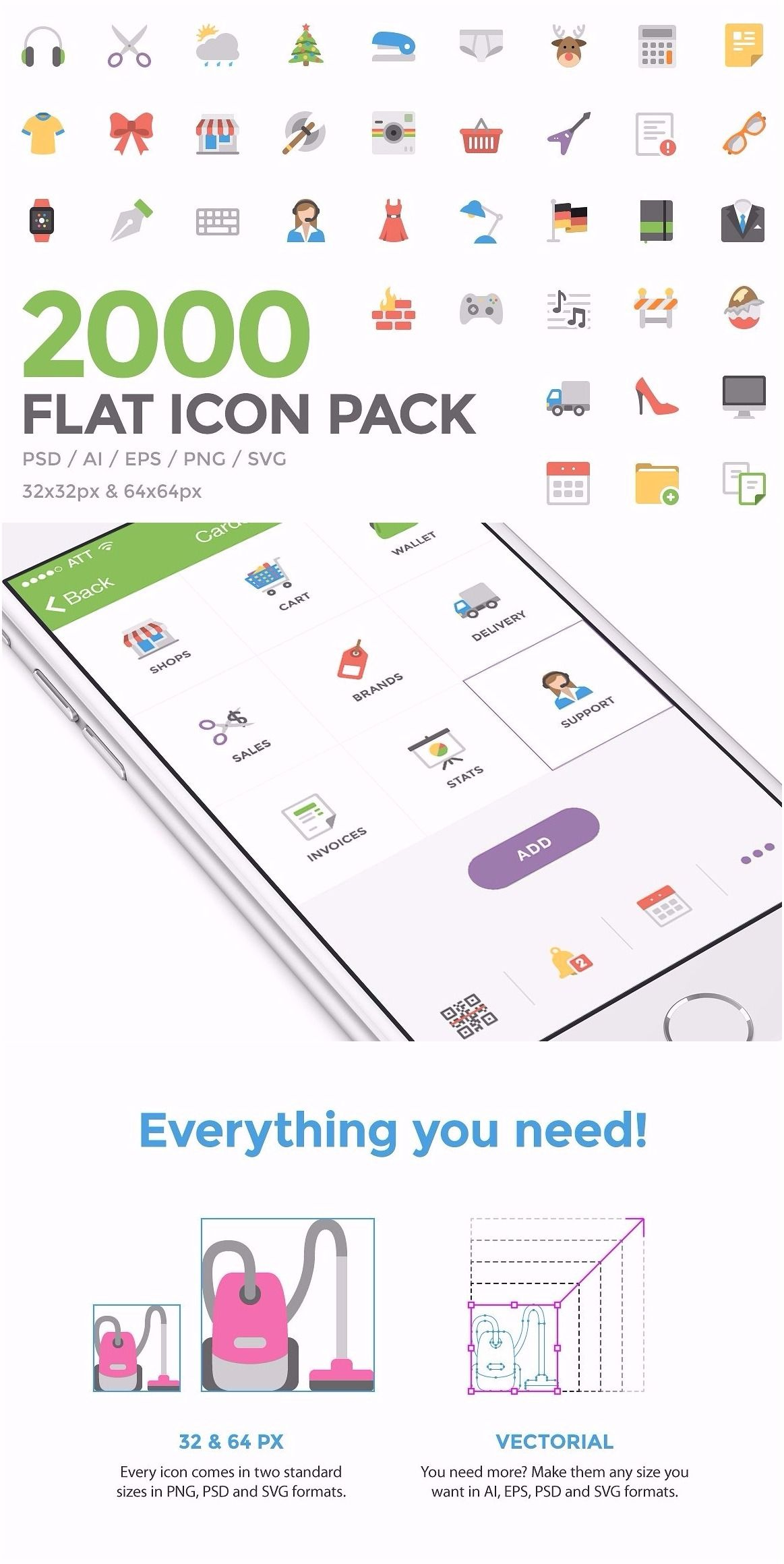Flat Icon Pack 2000 handcrafted and pixelperfect icons