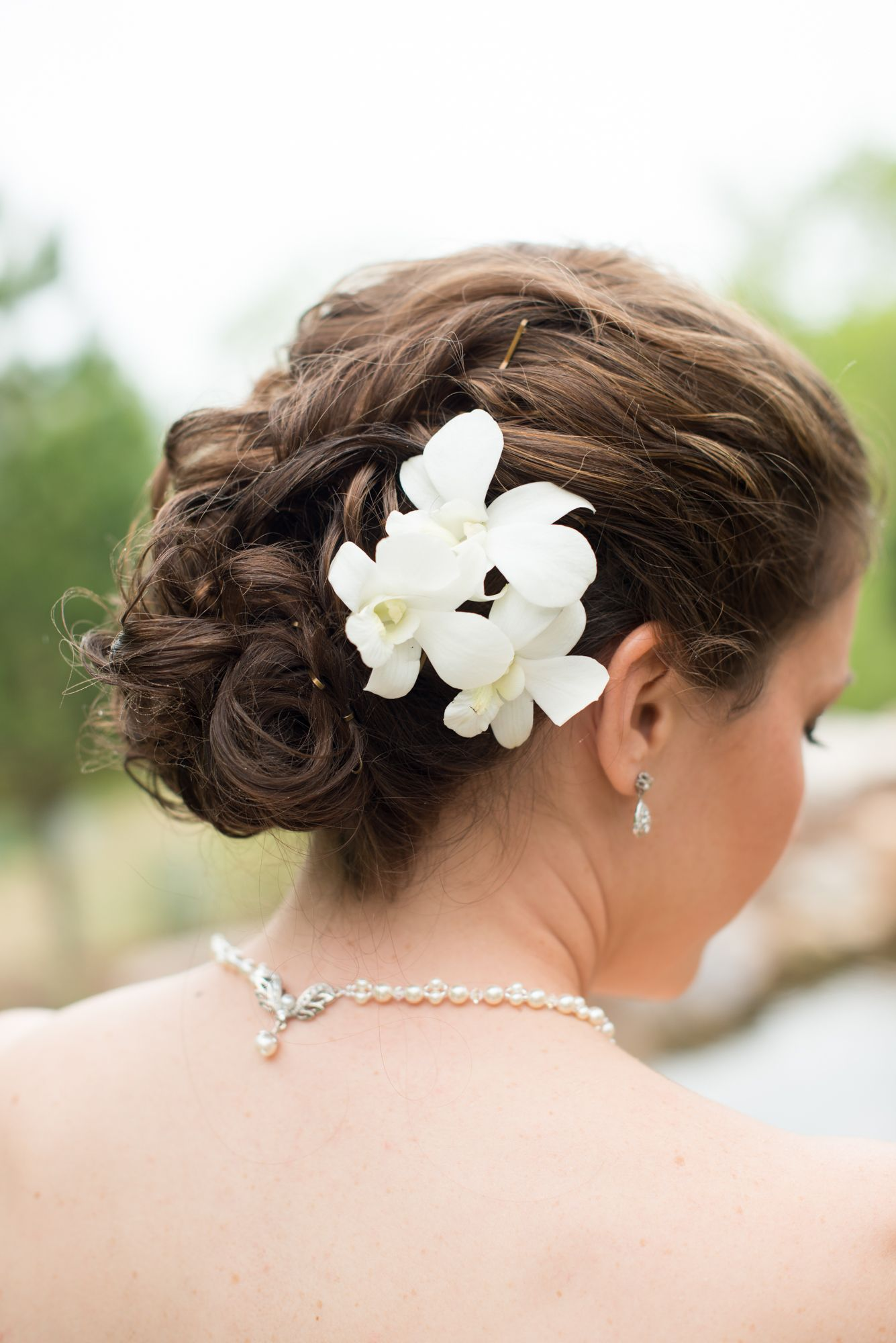 Gardenias With Hairstyle And Pearl Necklace Pearl