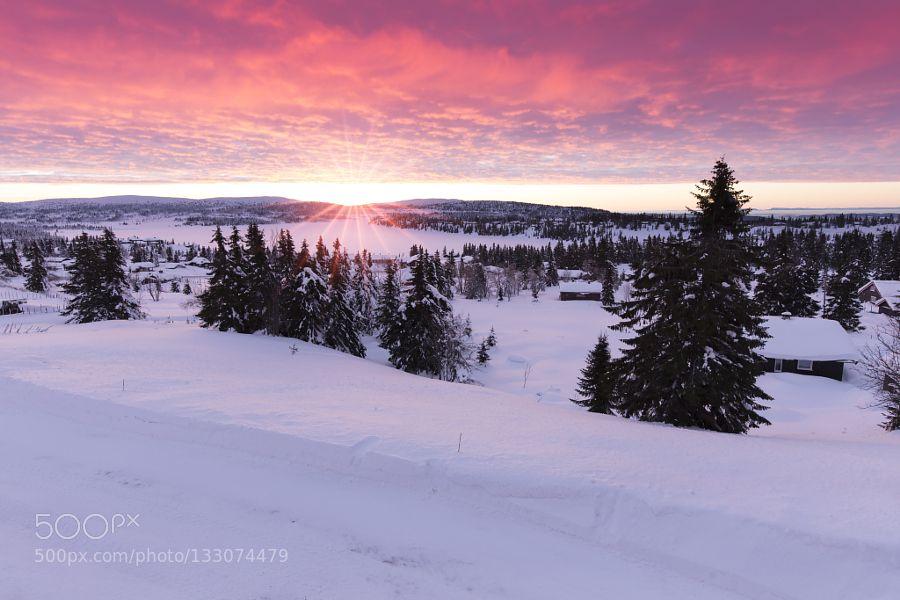 Popular on 500px : Sunrise over Lake Sjusjoen by robk1964