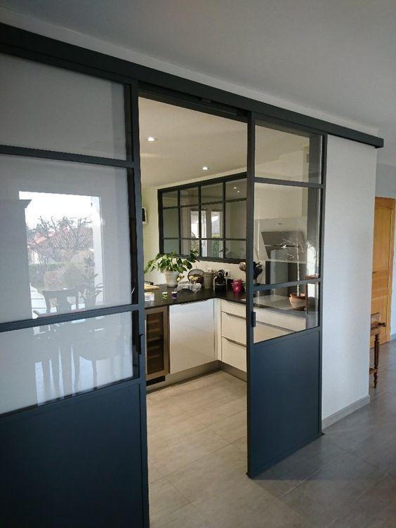 Verri re en acier gris anthracite porte coulissante pour for Separation verriere cuisine