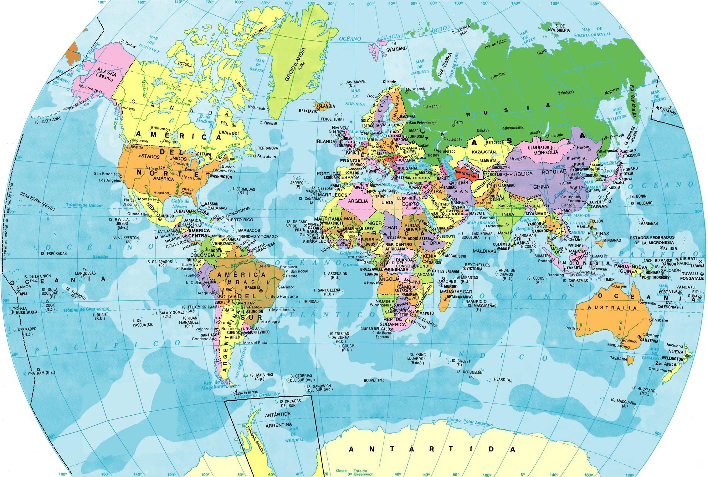Mapa Del Mundo Paises Para Imprimir.Mapas Planisferios Para Descargar E Imprimir Universo Guia