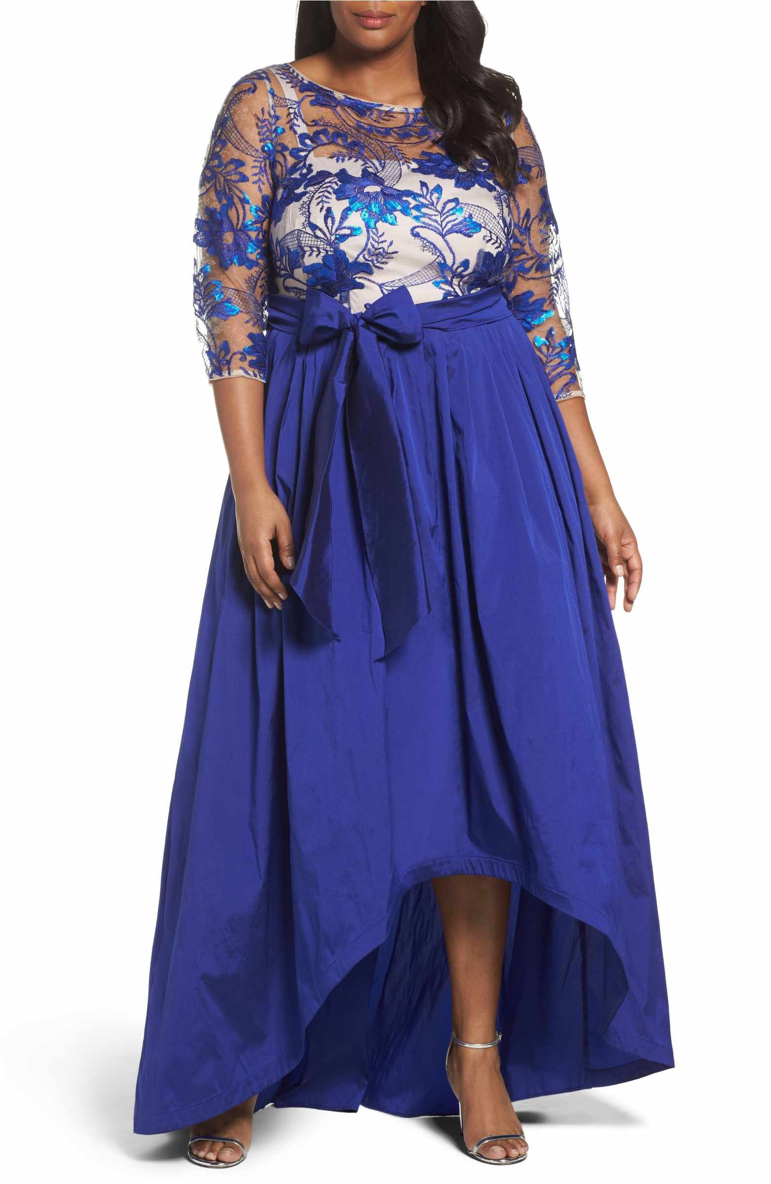 Main Image - Adrianna Papell Floral Flutter Embellished High/Low ...