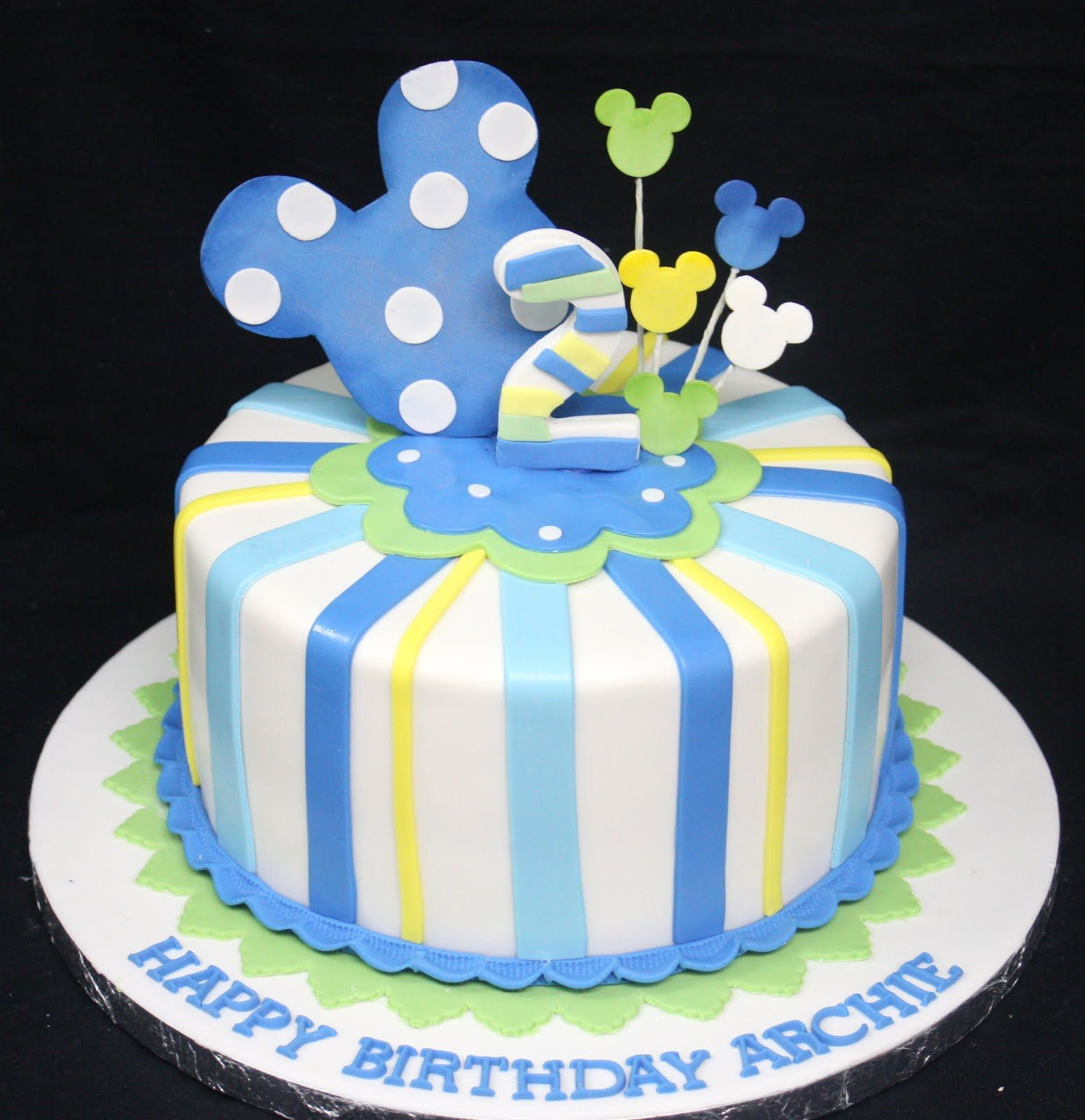 Mickey Mouse 1st Birthday Cake: Baby Mickey Mouse 1st Birthday Cake Decoration