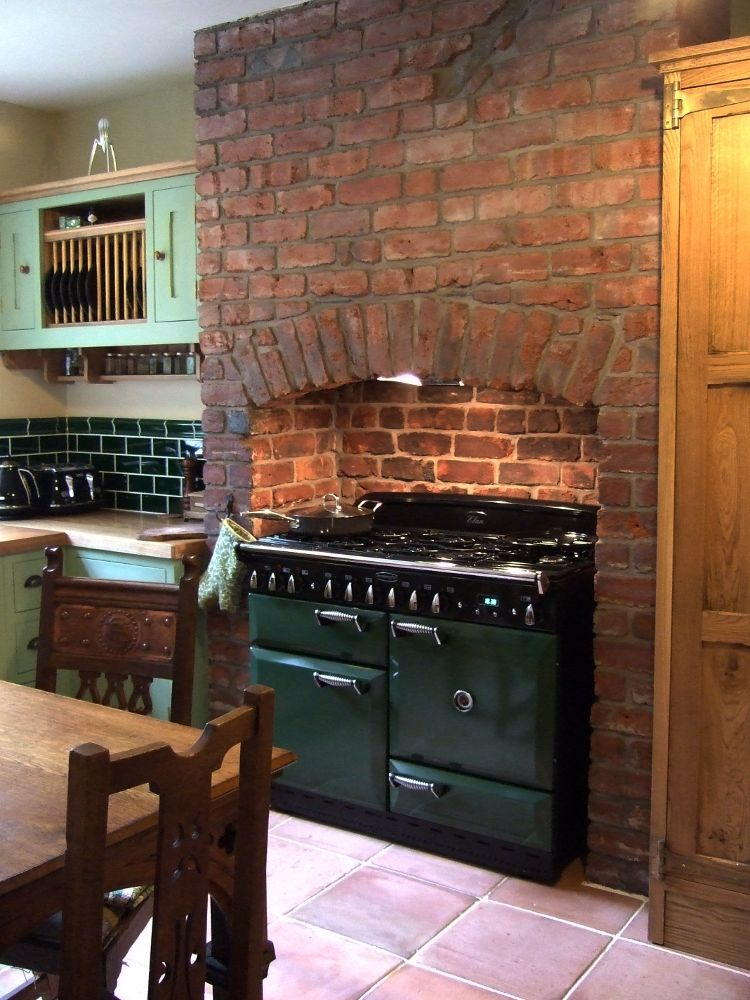 Kitchen with wonderfully wonky original brick chimney breast