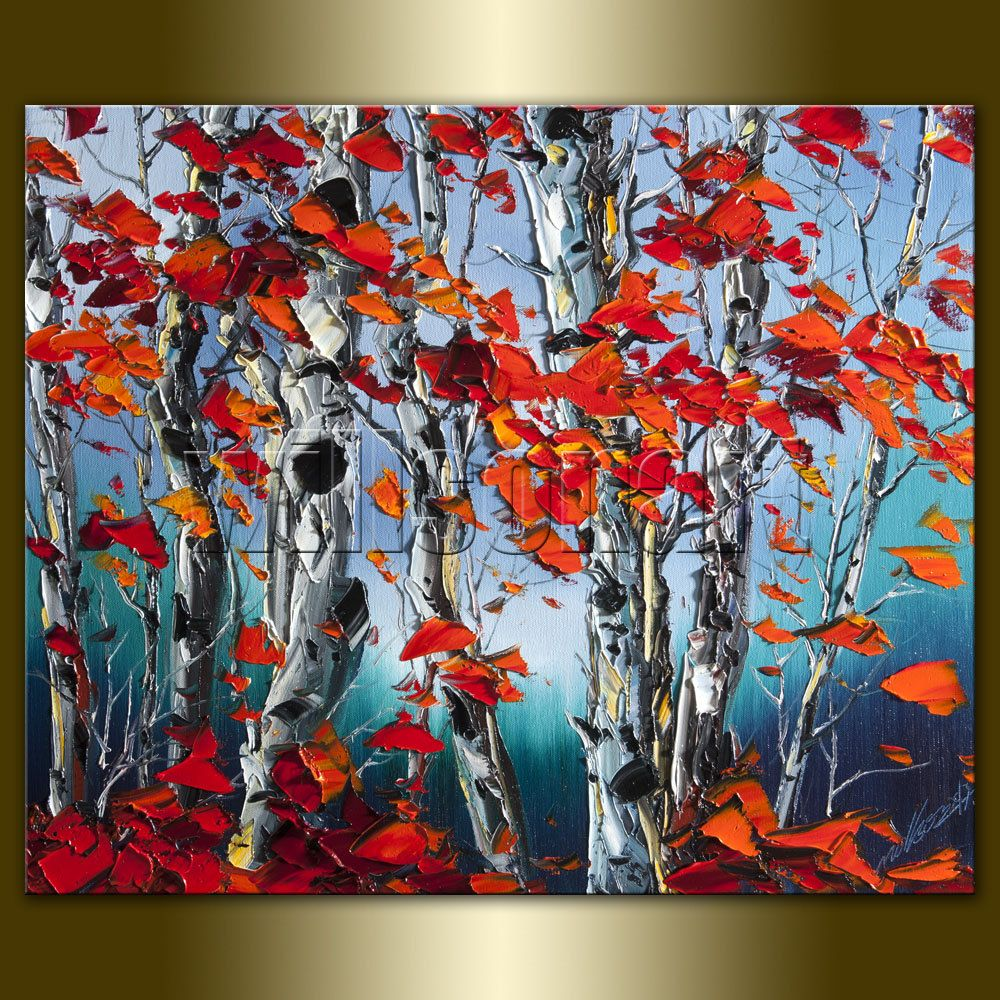 Original Autumn Birch Landscape Painting Oil On Canvas
