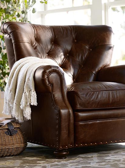 Performance fabrics pottery barn details for the home - Overstuffed leather sofa living room ...