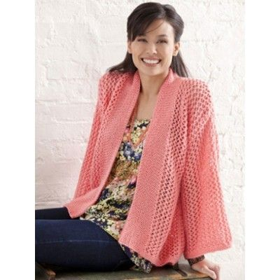 Bright And Breezy Kimono Free Knitting Pattern Lace Cardigan Sweater