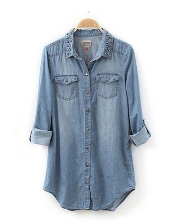 a43cf34459 Womens lady girl Retro long sleeve blue jean denim shirt tops blouse Rivet