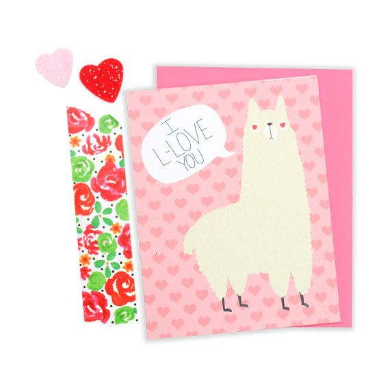 Llama Greeting Card Llama Love Card Alpaca Boyfriend Card Llama