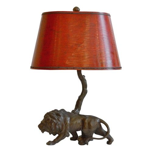 Early 20th Century Lion Spelter Lamp 1700 Lamp Table Lamp Lighting
