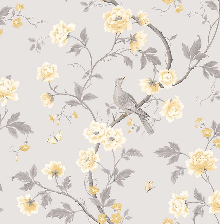 This Beautiful Soft Grey Floral Wallpaper Features Pretty Yellow Blossoms And B Grey Floral Wallpaper Mustard And Grey Wallpaper Wallpaper Bedroom Feature Wall
