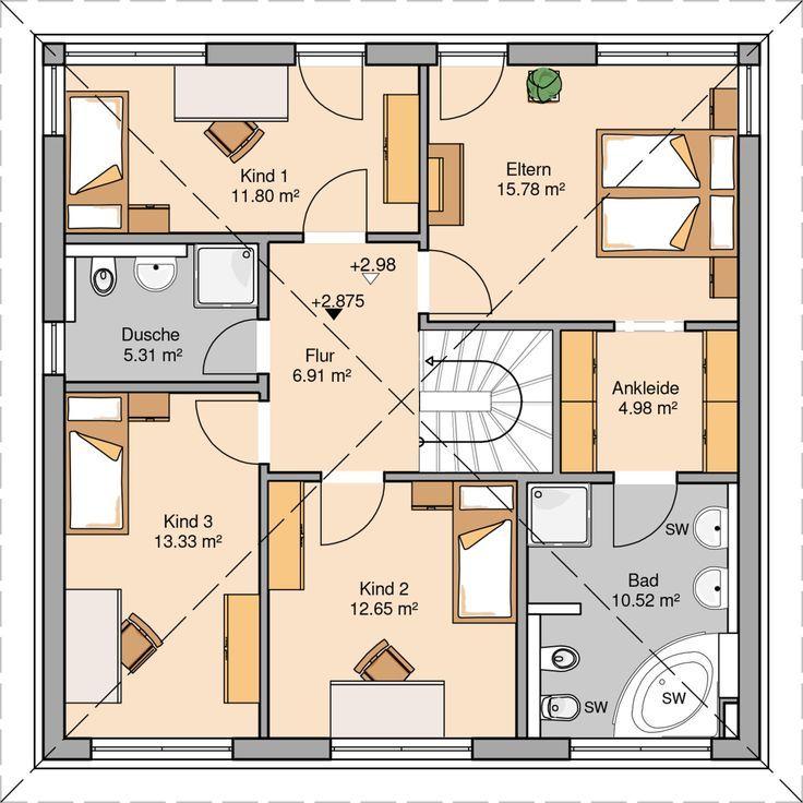 Massivhaus stadtvilla grundriss  Massivhaus Kern-Haus Stadtvilla Centro Grundriss Obergeschoss | 2 ...