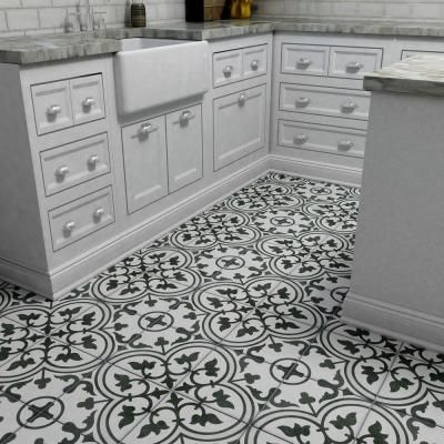 Merola Tile Arte Grey Encaustic 9 3 4 In X 9 3 4 In Porcelain