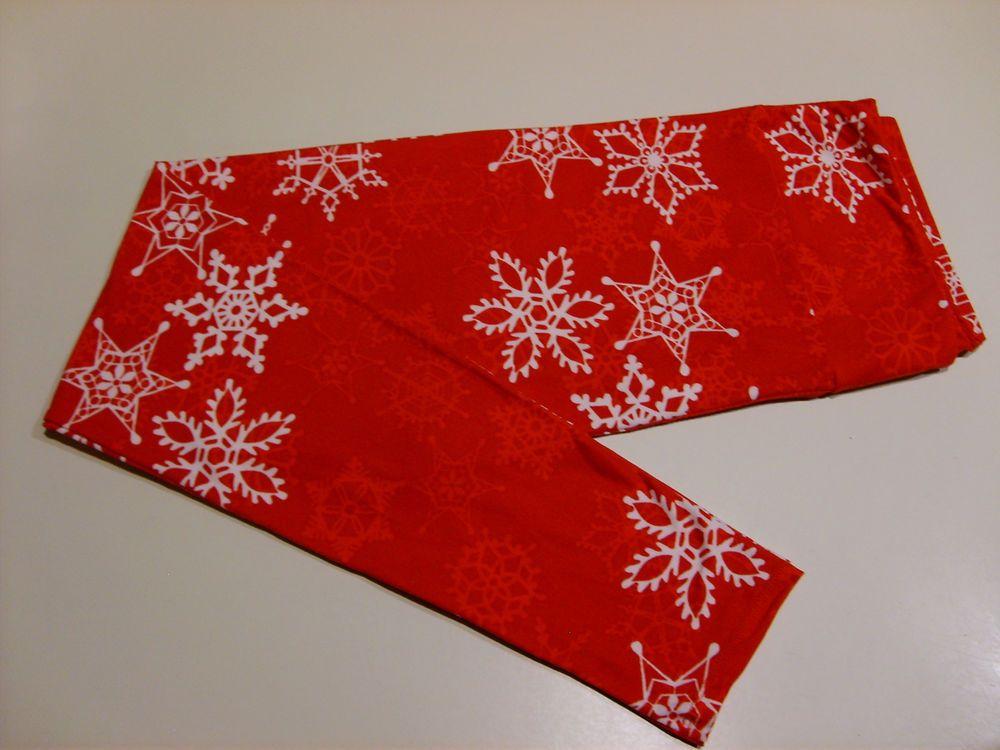 35e612442dc43f LULAROE Christmas Holiday Leggings Snowflakes Red Tall & Curvy YOGA NWT  Unicorn #LuLaRoe