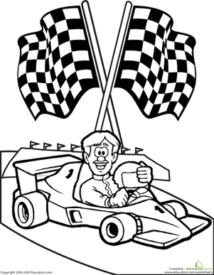 Coloring Page Of Race Car Driver