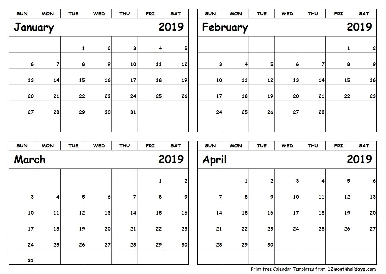Printable Blank Four Month January February March April ...