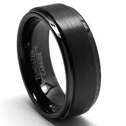 Men S Matte Black Wedding Band Tungsten Mens Rings Black Wedding Rings Mens Wedding Bands Black