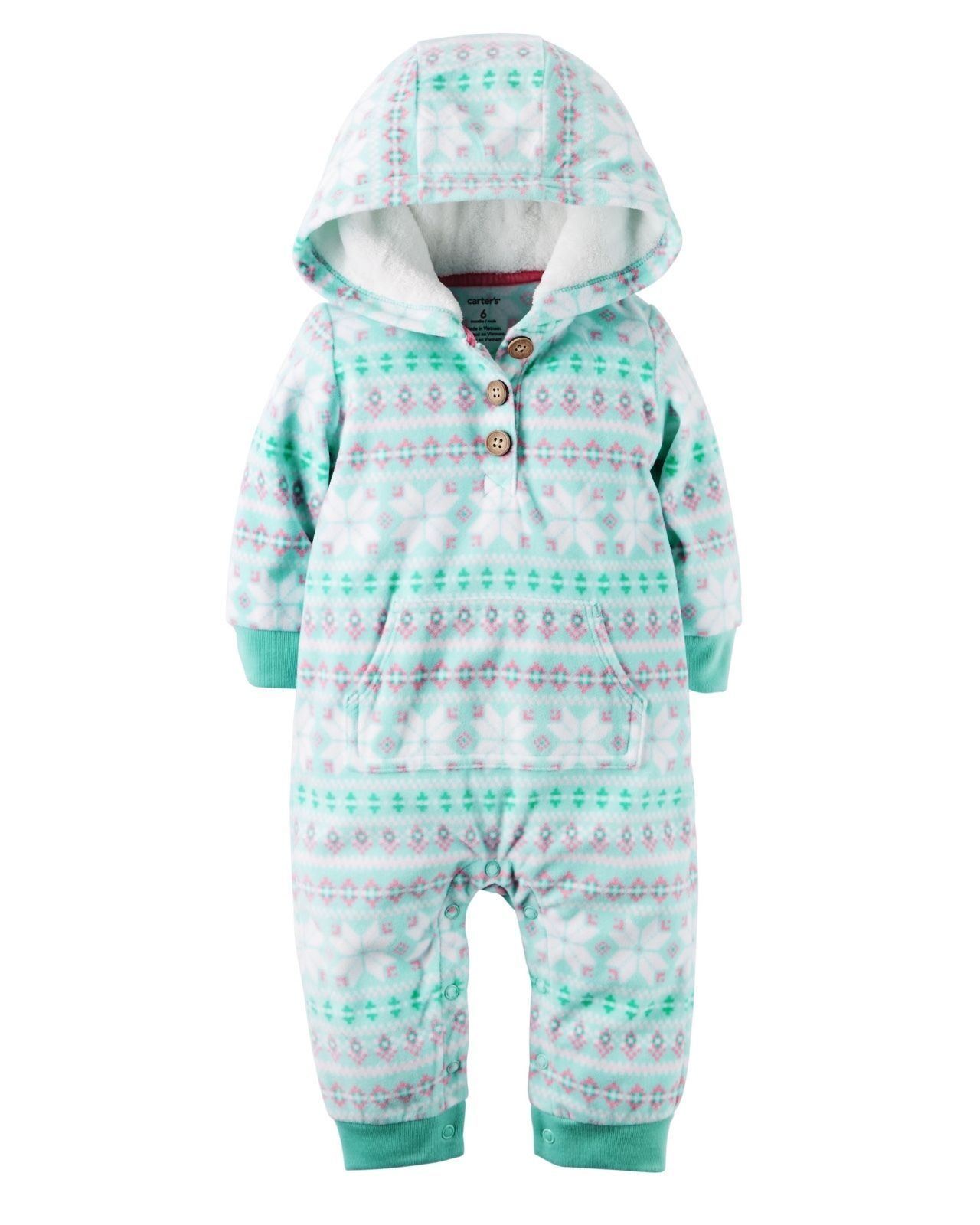 258473f948f6 Details about Carter s NWT 12M 18M Infant Girl Fleece Hooded ...