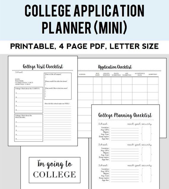 image about Printable College Application Checklist known as University Admissions Planner (tiny package) Goods inside 2019
