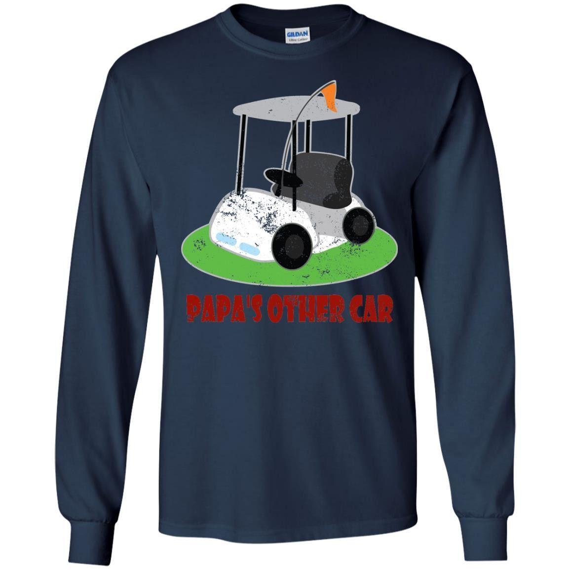 Men's Papa Grandpa Dad T-shirt Golfing Fathers Day Golf Cart Tee LS Ultra Cotton Tshirt