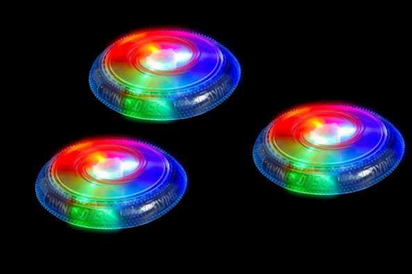Light-up flying disc----Your game of Frisbee doesnt have to stop at night with this fun disc from Gadgets and Gears. Turn on the LED disco lights in this perfect camping toy party addition beach game and play on even after nightfall. Just dont be so mesmerized by the light show that you forget to catch!