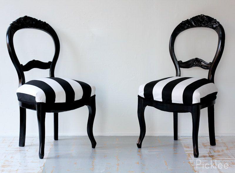 Pair Of Black U0026 White Stripe Rose Carved Balloon Back Chairs. $500.00, Via  Etsy