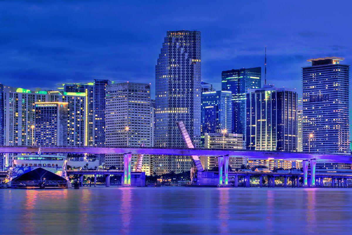 Miami Miami City Downtown Skyline Panoramic Hdr Photo