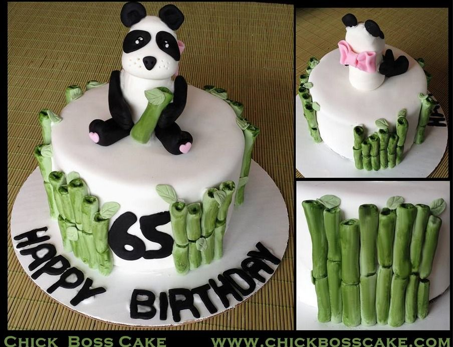 Panda bear birthday cake chick boss cake pinterest for Panda bear cake template