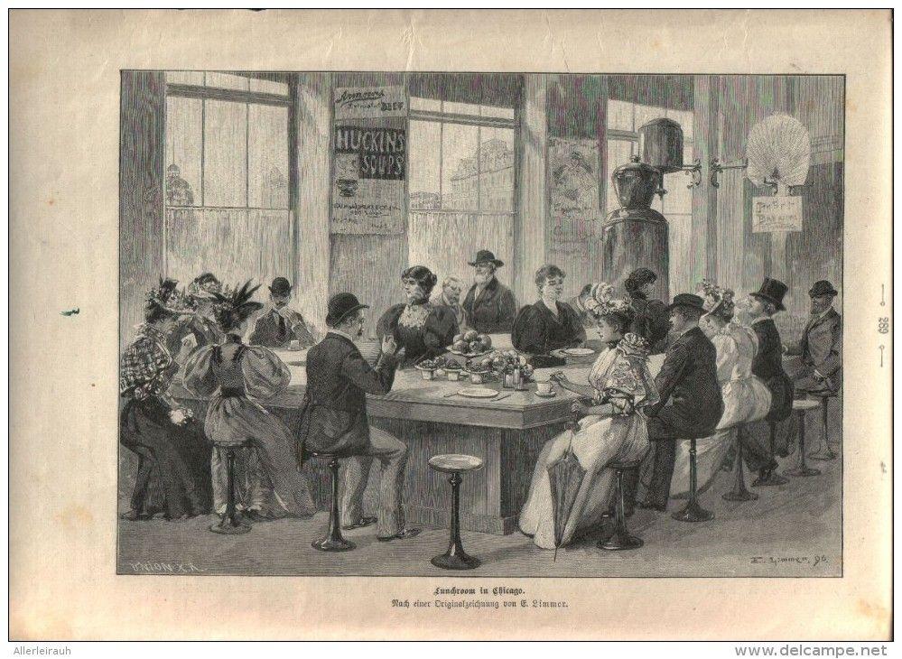 Lunchroom In Chicago Druck Entnommen Aus Die Gartenlaube 1897 Artikelnummer 397366532 Gartenlaube Beruhmte Gebaude Und Laub
