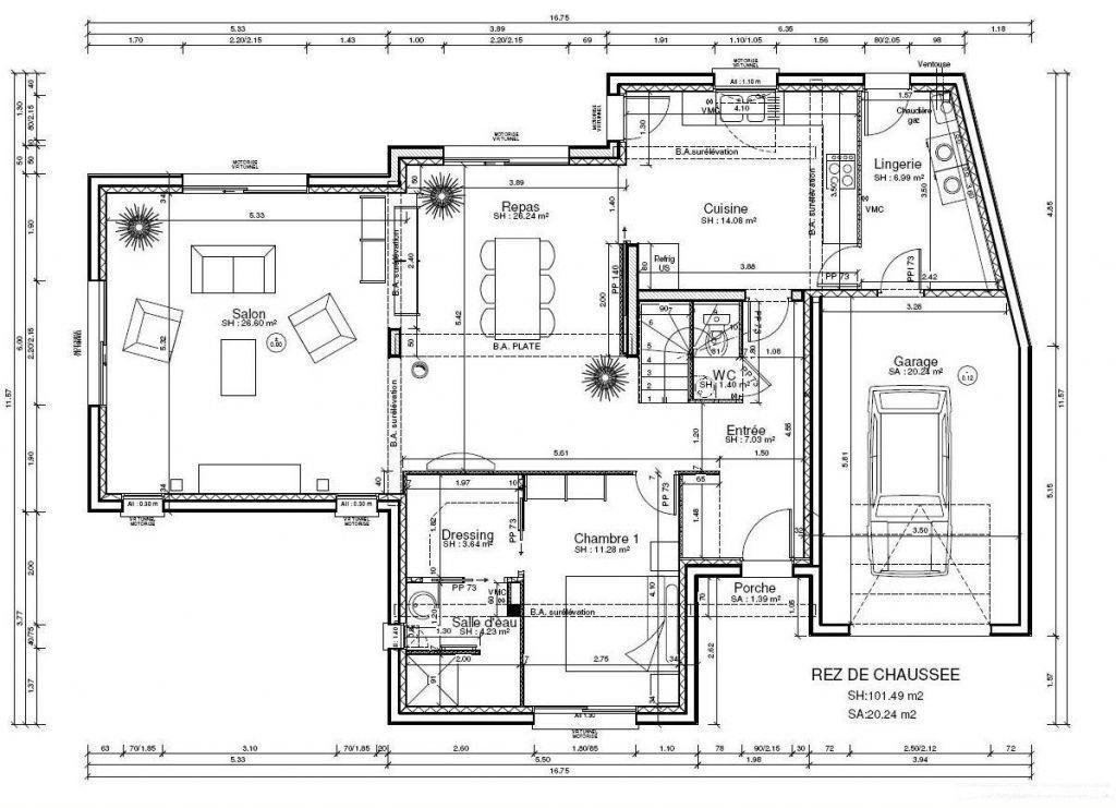 Photo Plan du RDC - 150M² | Maison cubique, Plan maison, Plan maison 150m2