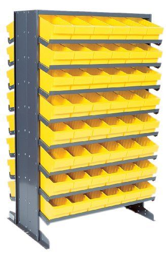 Pick Rack Double Sided 24 X 36 X 60 With 36 Qed501 24 Qed601 16 Qed701 And 12 Qed801 Gray Bins By Quantum 1415 17 Sloped Shelvingprovides Easy Access To